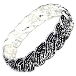 Antique Silver Plated Brass Twisted Wheat Braid Stretchable Bangle Bracelet - Tioneer