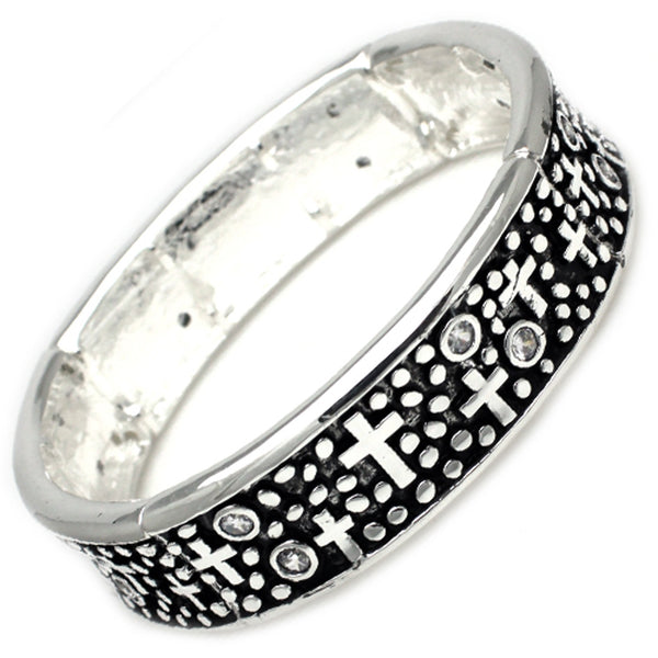 Antique Silver Plated Brass Cross Concave Stretchable Bangle Bracelet - Tioneer