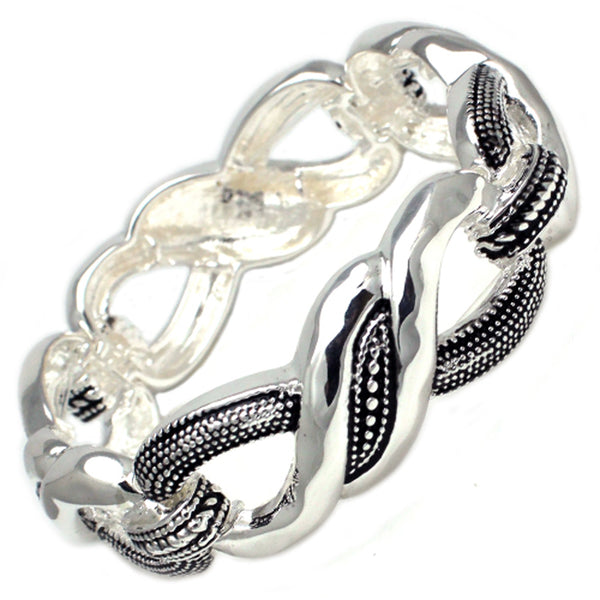 Antique Silver Plated Brass Twisted Buckle Design Stretchable Bangle Bracelet - Tioneer