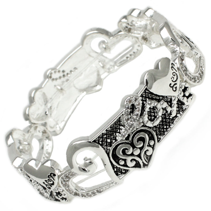 Antique Silver Plated Brass CZ Love Floral Hearts Stretchable Bangle Bracelet - Tioneer