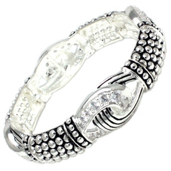 Antique Silver Plated Brass CZ Buckle Style Stud Stretchable Bangle Bracelet - Tioneer
