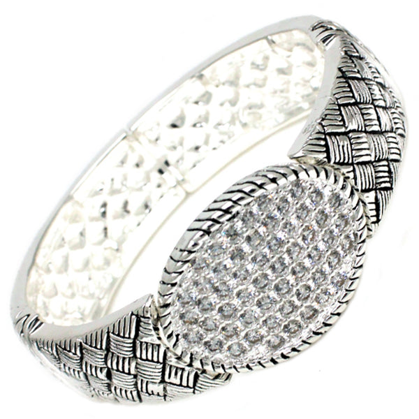 Antique Silver Plated Brass CZ Buckle Style Chequer Stretchable Bangle Bracelet - Tioneer