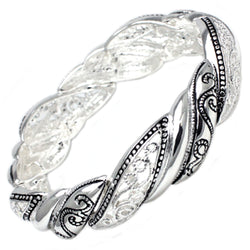 Antique Silver Plated Brass Black & Silver Filigree Stretchable Bangle Bracelet - Tioneer