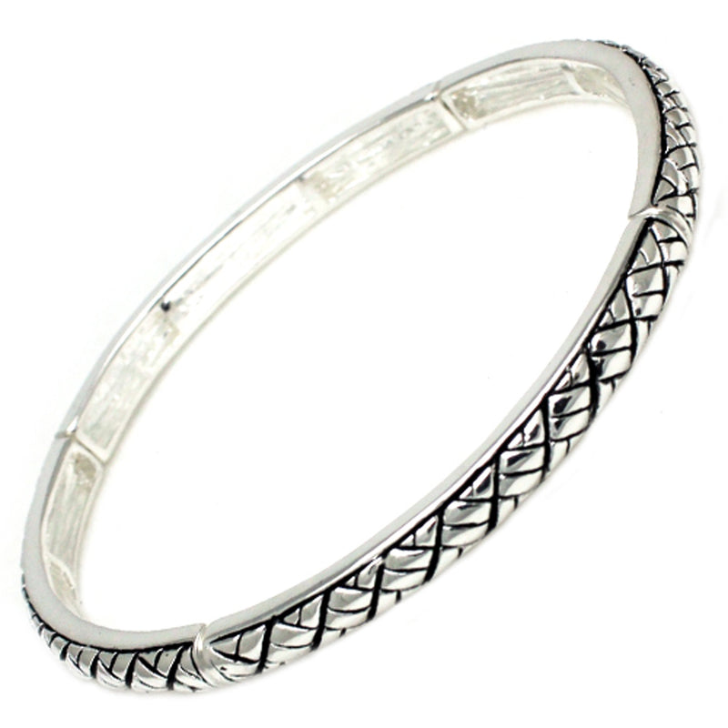 Antique Silver Plated Brass Wheat Braid Design Stretchable Bangle Bracelet - Tioneer