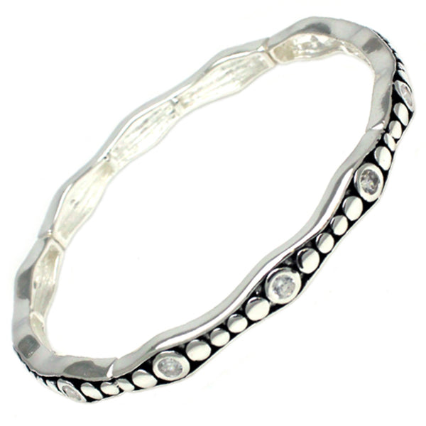 Antique Silver Plated Brass CZ Metallic Style Stretchable Bangle Bracelet - Tioneer