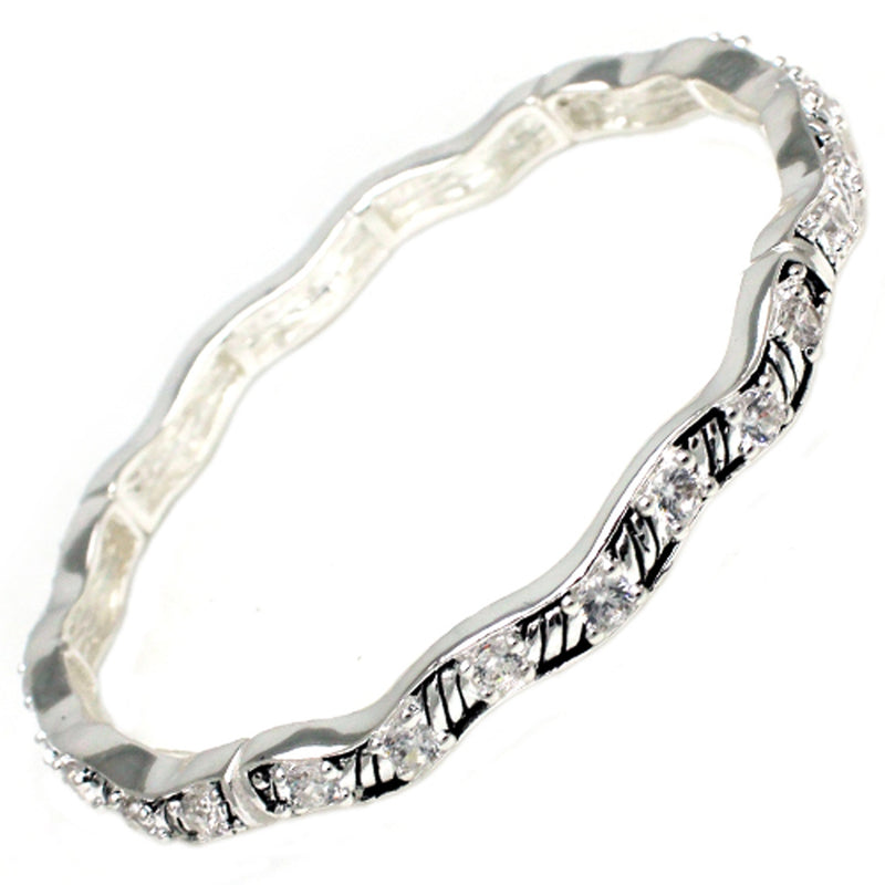 Antique Silver Plated Brass Prong-Set CZ Wave Stretchable Bangle Bracelet - Tioneer
