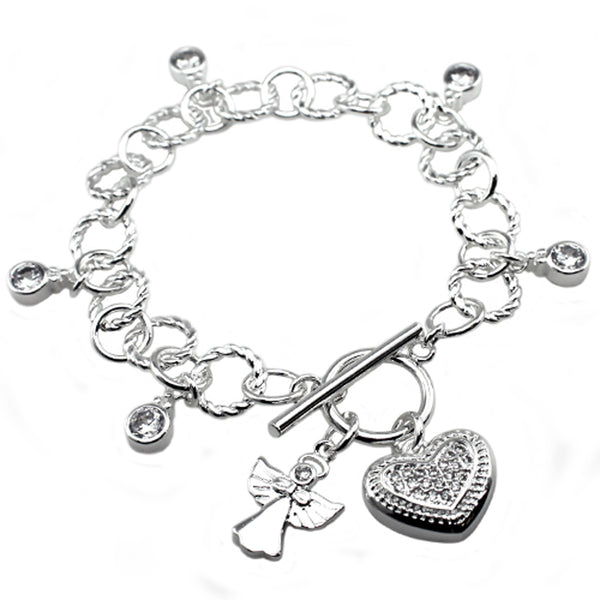 Antique Silver Plated Brass Angel & Heart CZ Charm Toggle Bracelet - Tioneer
