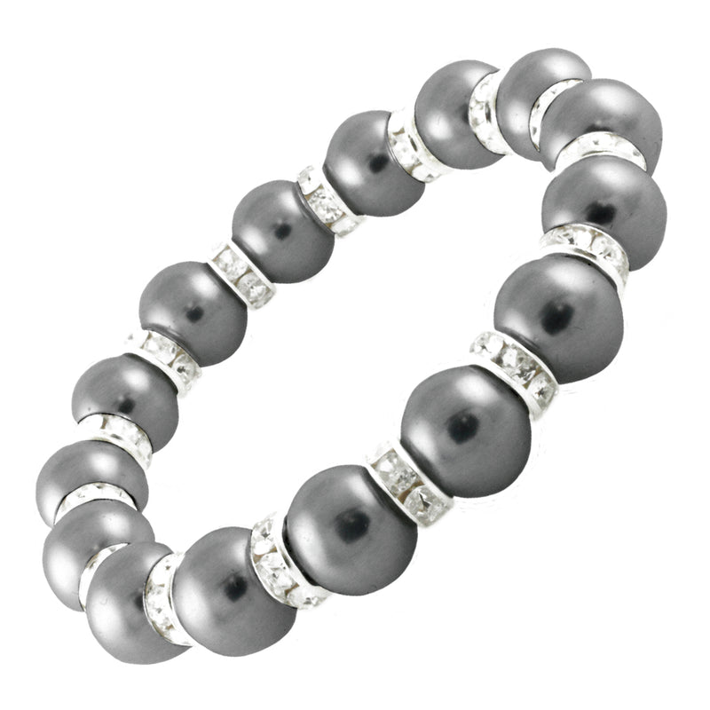 Silver Alloy Strethable Colored Faux Pearl Bead Bracelet - Tioneer