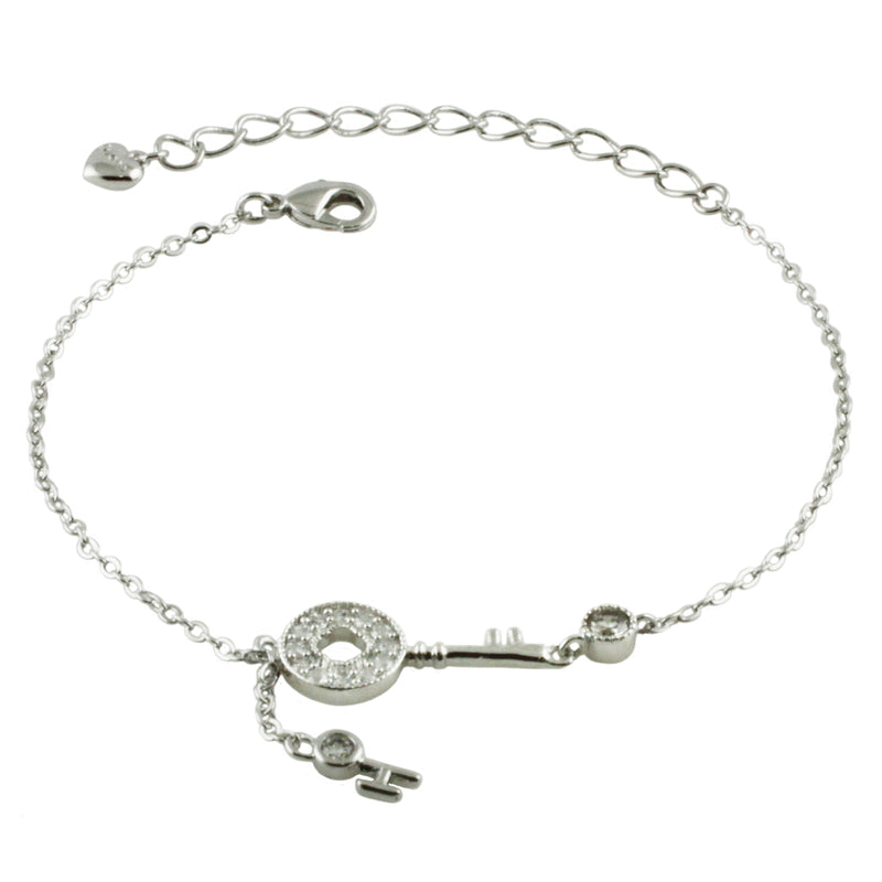 Swarovski Elements White Crystals Key Charm Bracelet - Tioneer