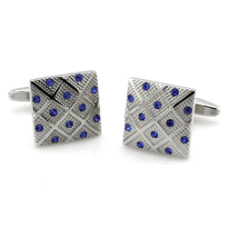 Brass Blue Crystals Cufflinks - Tioneer