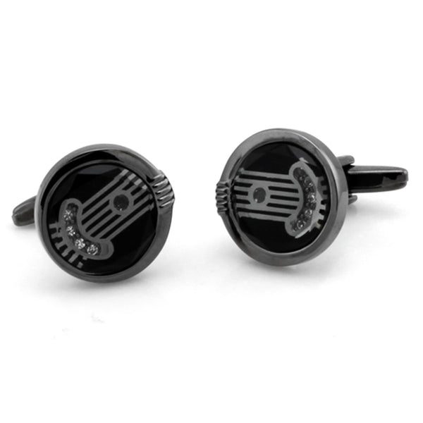 Black Plated Brass Cubic Zirconia Greek Pillar Cufflinks - Tioneer