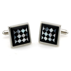 Brass Black & White Argyle Print Cufflinks - Tioneer
