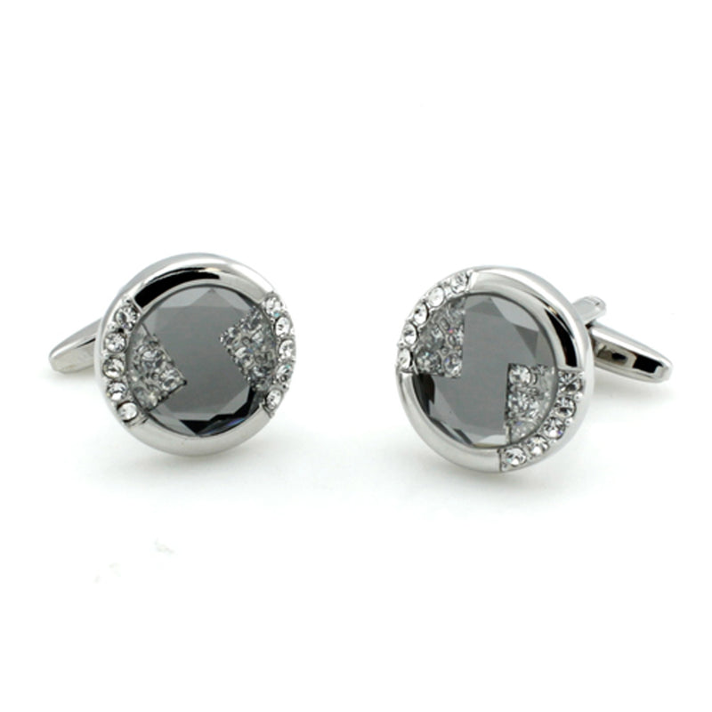 Brass Cubic Zirconia Abstract Pie Slice Cufflinks - Tioneer