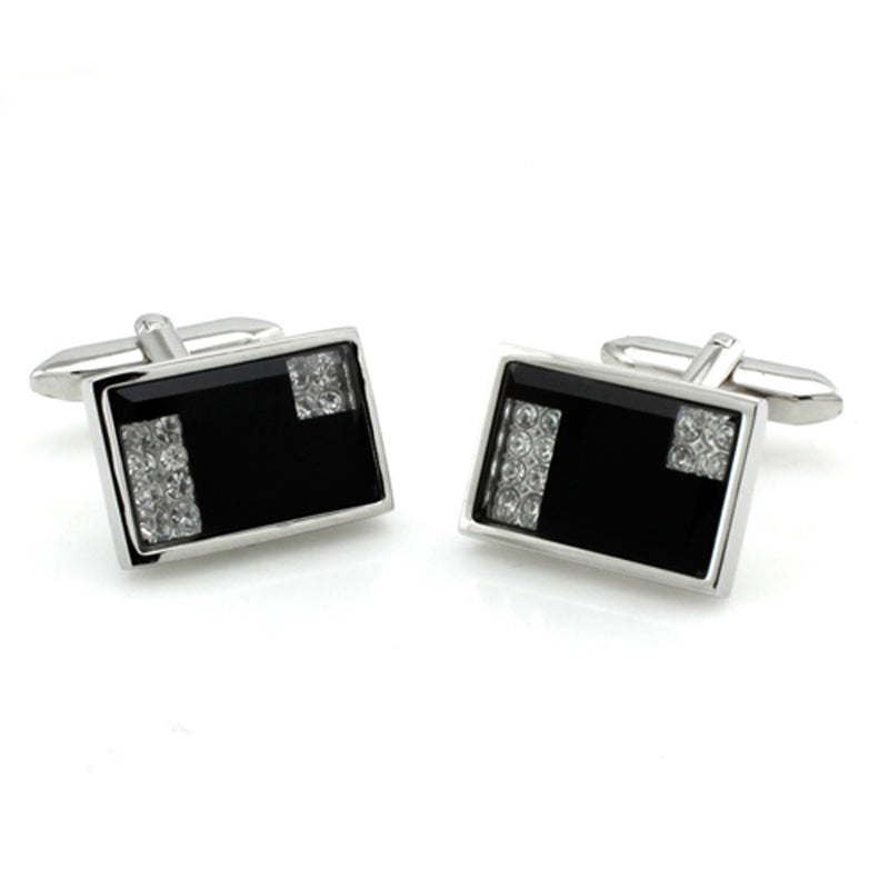 Black Brass Cubic Zirconia Abstract Rectangle Cufflinks - Tioneer