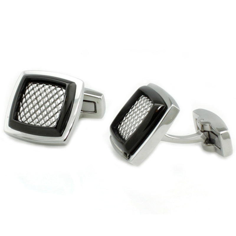 Stainless Steel Classic Mesh Inlay Cufflinks - Tioneer