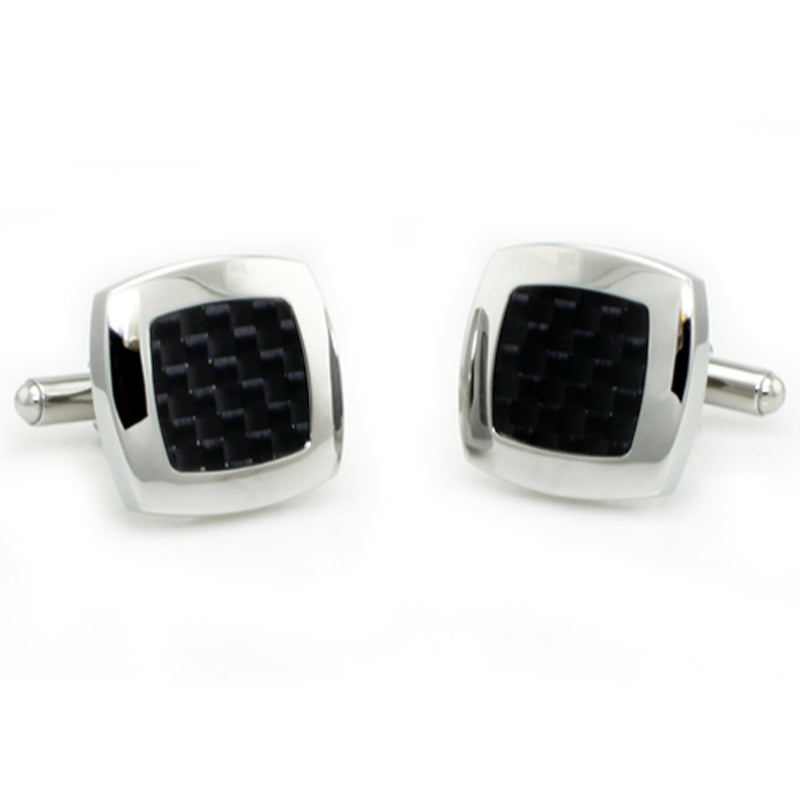 Stainless Steel Black Carbon Fiber Center Inlay Cufflinks - Tioneer