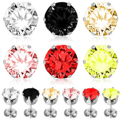 Stainless Steel Classic 6-Prong Round Cubic Zirconia Stud Earrings - Tioneer