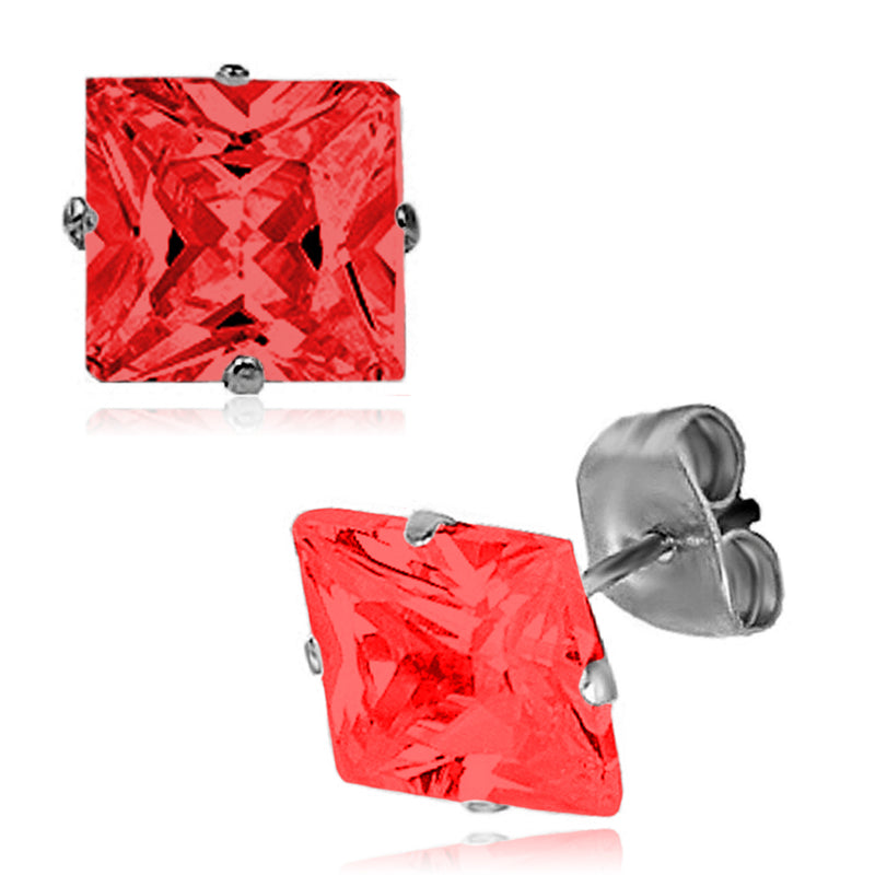 Stainless Steel Classic Princess Cut Cubic Zirconia Stud Earrings - Tioneer