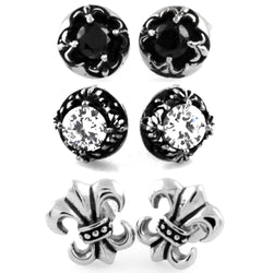 Stainless Steel Fleur de Lis Floral Lily 3-Pair Stud Earrings Set - Tioneer