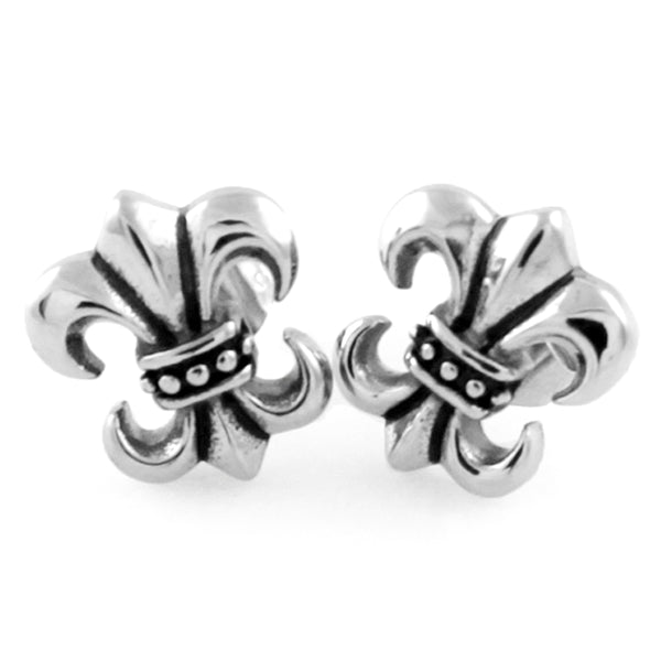 Stainless Steel Fleur de Lis Design Stud Earrings - Tioneer