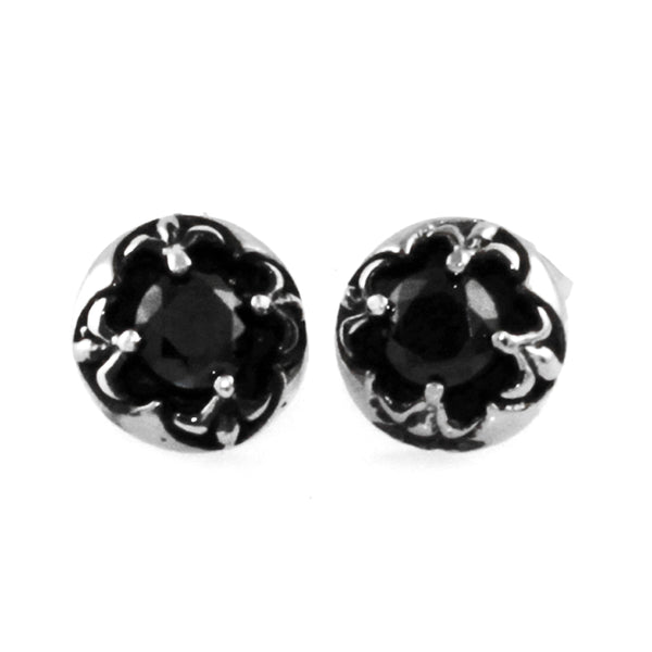 Stainless Steel Fleur de Lis Black Cubic Zirconia Design Stud Earrings - Tioneer