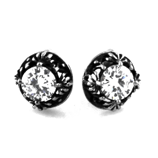 Stainless Steel Cubic Zirconia Lily Flower Design Stud Earrings - Tioneer