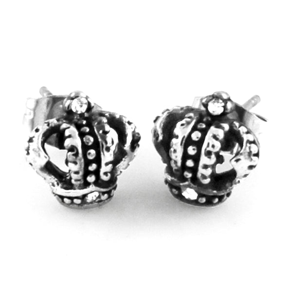 Stainless Steel Cubic Zirconia Royal Crown Design Stud Earrings - Tioneer