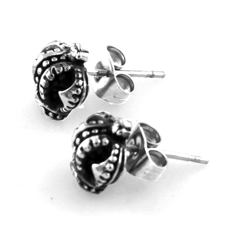 Stainless Steel Crown Floral Anchor 3-Pair Stud Earrings Set - Tioneer