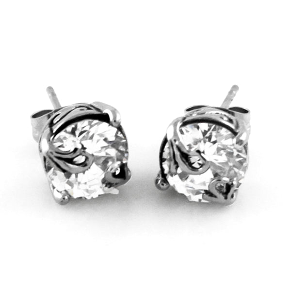 Stainless Steel Cubic Zirconia Floral Design Stud Earrings - Tioneer