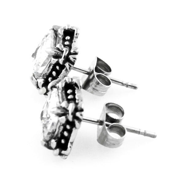 Stainless Steel Cubic Zirconia Fleur de Lis Design Stud Earrings - Tioneer