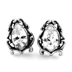 Stainless Steel Cubic Zirconia Tear Drop Floral Design Stud Earrings - Tioneer