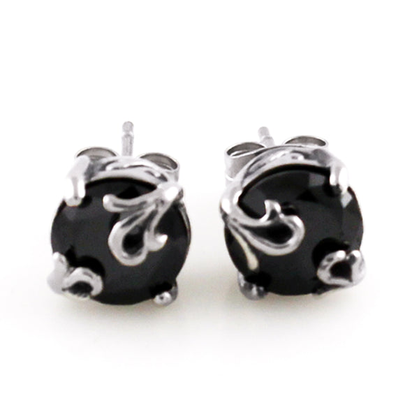 Stainless Steel Black Cubic Zirconia Floral Design Stud Earrings - Tioneer