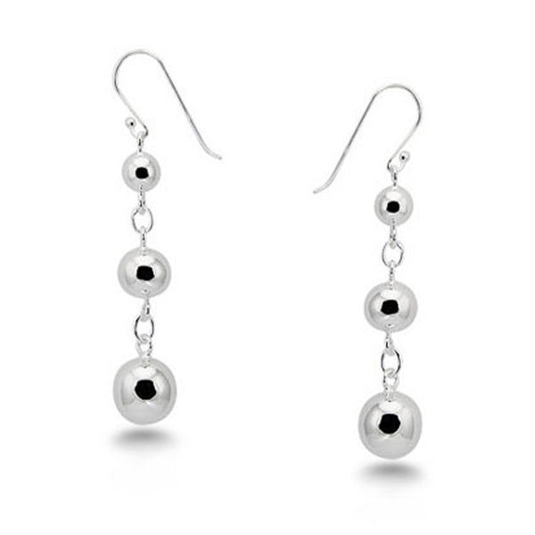 Sterling Silver Drop Dangle Bead Ball Earings - Tioneer