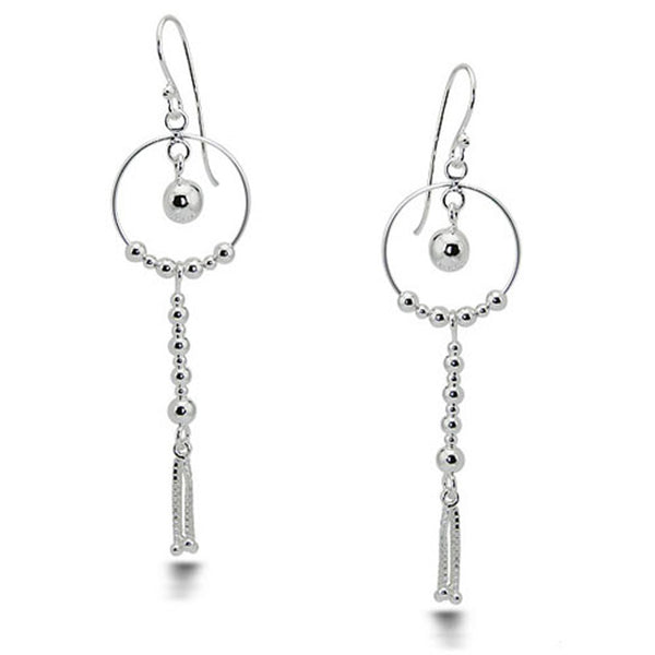 Sterling Silver Floating Ball Drop Dangle Earrings - Tioneer