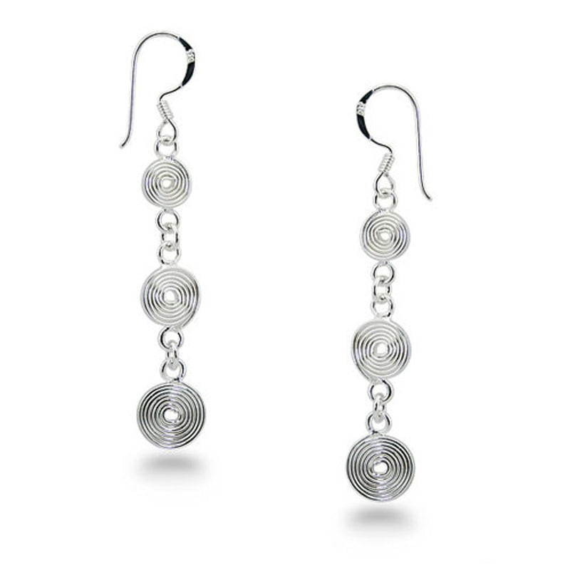 Sterling Silver Spiral Chain Drop Drangle Earrings - Tioneer