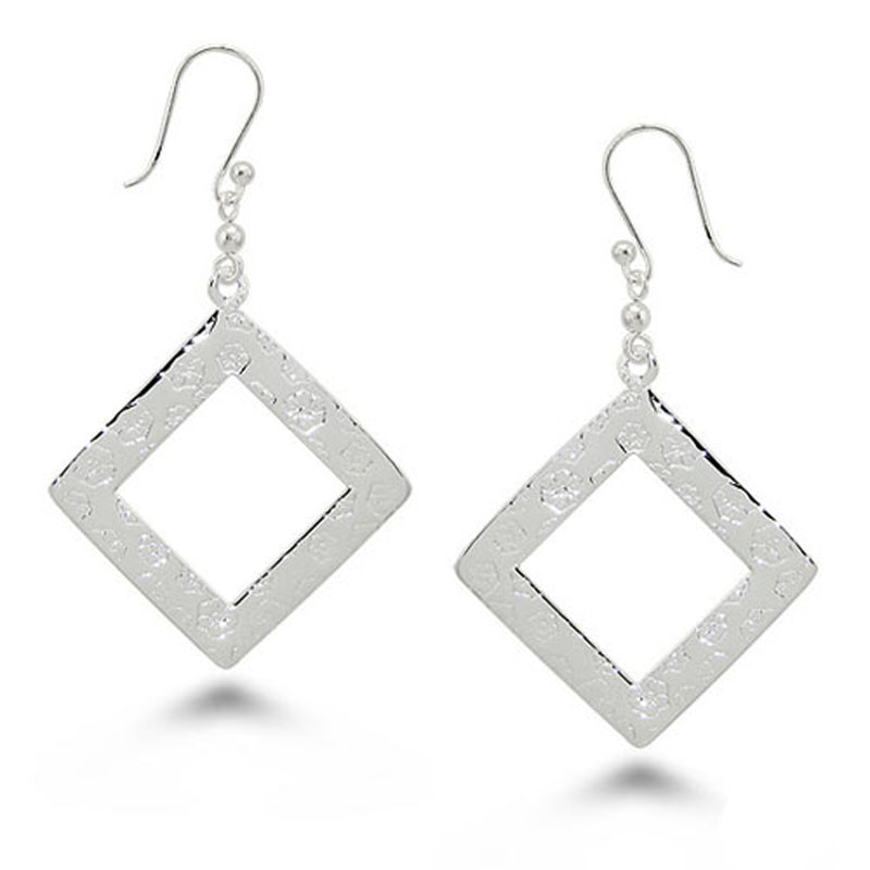 Sterling Silver Open Diamond Cut Dangle Drop Earrings - Tioneer