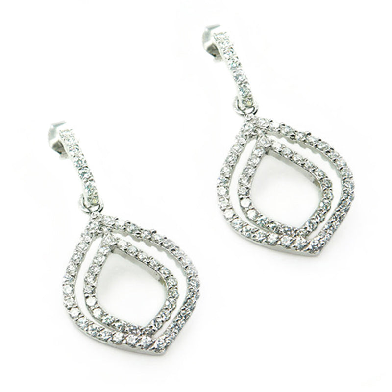 Sterling Silver Cubic Zirconia Leaf Drop Stud Earrings - Tioneer