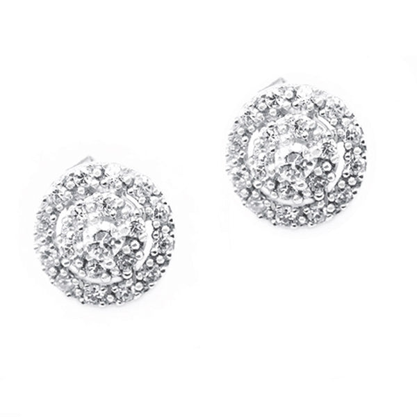 Sterling Silver Concentric Cubic Zirconia Stud Earrings - Tioneer