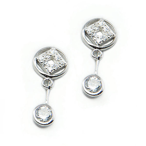Sterling Silver Floating Cubic Zirconia Drop Stud Earrings - Tioneer