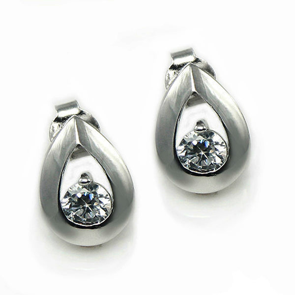 Sterling Silver Cubic Zirconia Tear Drop Stud Earrings - Tioneer