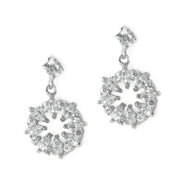 Sterling Silver Cubic Zirconia Snowflake Dangle Stud Earrings - Tioneer