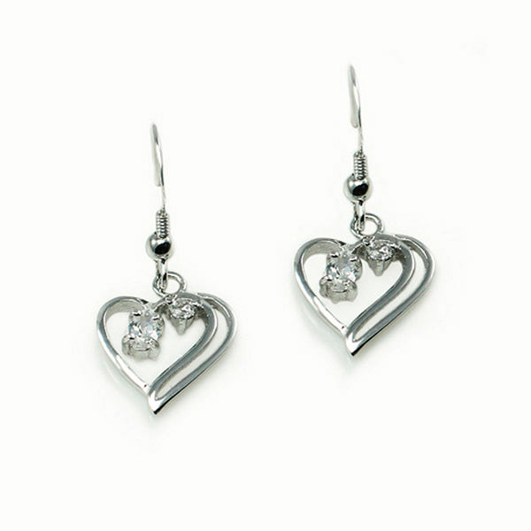 Sterling Silver Floating Heart Cubic Zirconia Drop Dangle Earrings - Tioneer