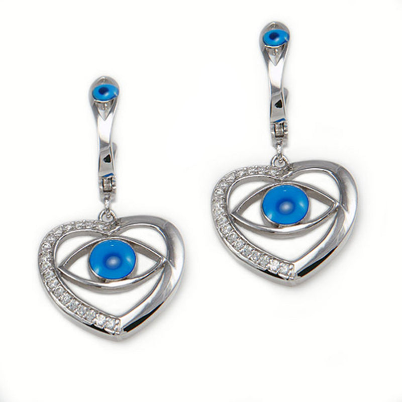 Sterling Silver Cubic Zirconia Evil Eye Heart Drop Stud Earrings - Tioneer