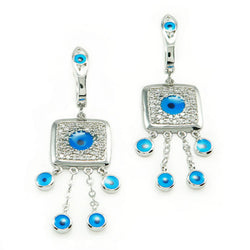 Sterling Silver Cubic Zirconia Evil Eye Dangling Stud Earrings - Tioneer