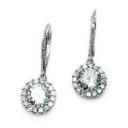 Sterling Silver Brilliant Cubic Zirconia Drop Earrings - Tioneer