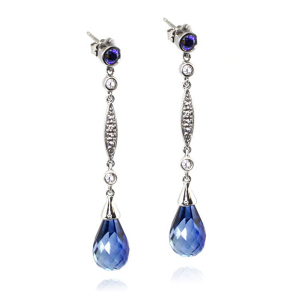 Sterling Silver Created Sapphire Created White Sapphire Drop Dangle Earrings - Tioneer