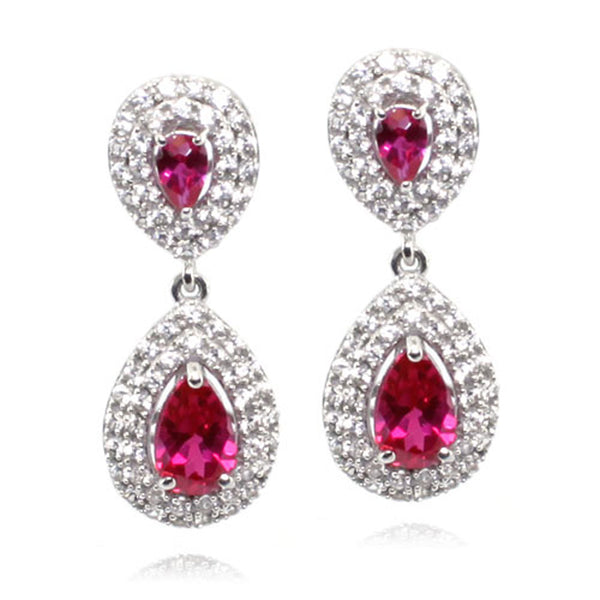 Sterling Silver Created Ruby Created White Sapphire Drop Stud Earrings - Tioneer