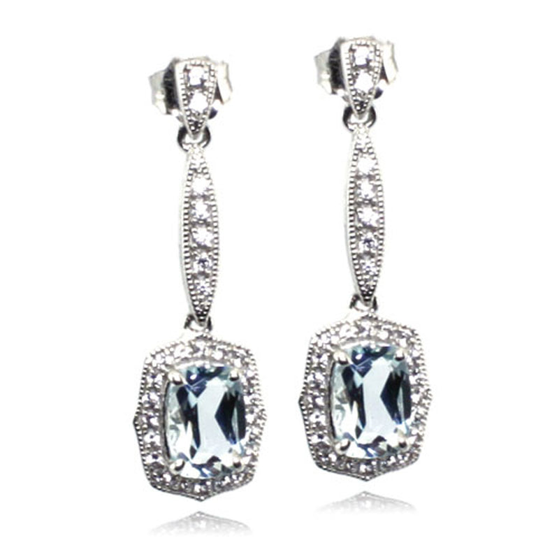 Sterling Silver Aquamarine Created White Sapphire Drop Stud Earrings - Tioneer