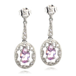 Sterling Silver Created White Sapphire Synthetic/Created Pink Sapphire Drop Stud Earrings - Tioneer