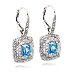 Sterling Silver Licensed Swiss Blue Topaz Created White Sapphire Drop Earrings - Tioneer